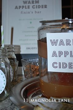 Planning a fall party? A Warm Apple Cider Bar is a great, fun way to serve drinks and warm up guests.