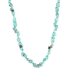 Lucky Brand Turquoise Stand Necklace with Silver Flowers