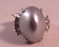 Vintage 18K HGE Women's Ring Gray Domed Pearl Setting w Rows of CZ's Size 6 NWT  #Unbranded #Band