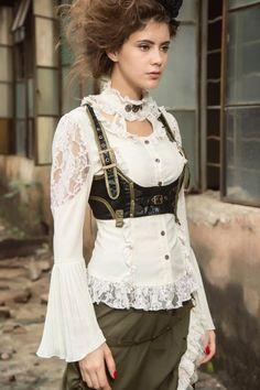 91ffea50859 Steampunk Bluse in viktorianischem Look - weiss Weiße Bluse Mit Spitze