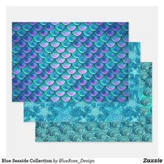 Blue Seaside Collection Wrapping Paper Sheets