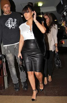 style-leather-skirt and short heels