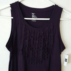 Dark purple tank Never worn. Tag still on. Smoke free home. Rows of lacey ruffles on the front. GAP Tops Tank Tops
