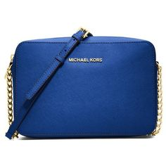 Women's MICHAEL Michael Kors 'Jet Set - Travel' Crossbody Bag ($135) ❤ liked on Polyvore featuring bags, handbags, shoulder bags, blue electric, crossbody travel purse, travel crossbody, chain strap crossbody, blue handbags and cross body travel purse