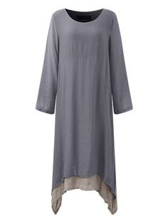 15c2f3686e26 O-NEWE Solid Lined Vintage Long Sleeve Women Maxi Dresses Plus Size Casual,  Maxi