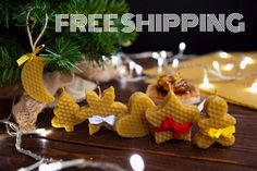 FREE SHIPPING Set of 6 Natural Beeswax candles is Christmas gift box. Honeycomb holiday cookis. by ItsHoneyCandle on Etsy https://www.etsy.com/listing/492762437/free-shipping-set-of-6-natural-beeswax