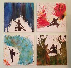 Avatar the Last Airbender inspired melted crayon canvases! #melted #crayon #avatar #last #airbender #four #elements #bending #diy #art #water #earth #fire #air #Katara #toph #zuko #aang #team #avatar #avatarthelastairbender #art #unique #silhouette