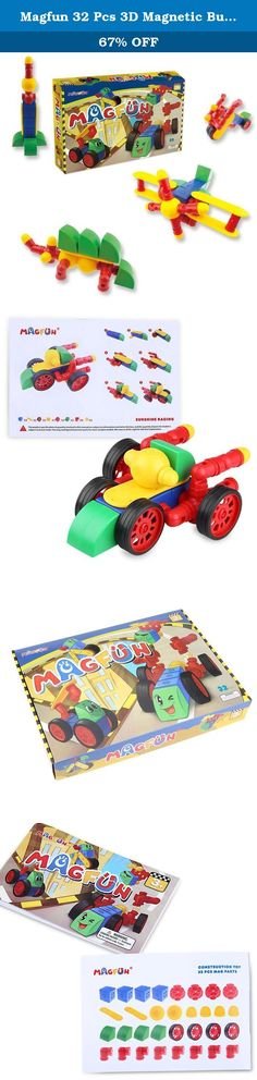 Magfun 32 Pcs 3D Magnetic Building Blocks Educational Construction Toy Set Innovative Gift for Kids. Specifications: Product Size (Approx. L * W * H): 16.4 * 11.8 * 2.4 inches Product Weight: 2.47 pounds Age Range: > 3 years old Material: ABS material and magnet Package included: 1 * A box of MAGFUN magnetic building blocks Attention! The packages' Plastic bags can be dangerous. To avoid danger of suffocation, keep this bag away from babies and children. Descriptions: Magfun® - 32 Piece...