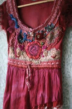 Flamenco--romantic embroidered blouse, top, textile collage, wearable art, hand dyed, hand beaded details,