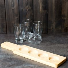 """Choice Four-Hole Natural Finish Wood Beer Flight Sampler Paddle - 14 1/2"""" x 3 1/2"""" x 5/8"""" 12 / Case"""