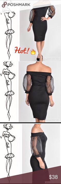 Black Off the Shoulders Dress Black Off the Shoulders Dress. Dress has sheer black sleeves which stop @ elbows. Dress is a midi w/hidden zipper in the back. Fitted COSB Dresses Midi