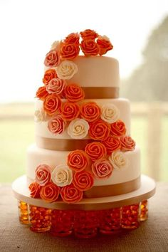 Our fabulous Autumn rose wedding cake - created by Charlotte's Cakes of Aylesford, Kent, UK.