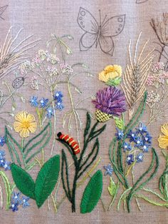 Breath of Spring - caterpillar - stitched in bullions and French knots.