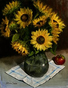 Natalia Clarke. Still life with Sunflowers and apple. Oil painting, 2013