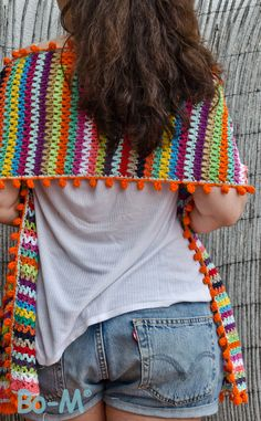 V-Stitch crochet wide scarf shawl with bobble edging.