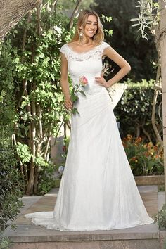 $179.19 Cap Sleeve Lace Wedding Dress with Side Draping www.ucenterdress..... Made to measure & Free Shipping! Shop lace wedding dresses, off the shoulder wedding dresses, backless wedding dresses, wedding dresses with sleeves, wedding dresses with tiers, fluffy wedding dresses, plus size wedding dresses, We have the best Wedding Dresses 2017 on sale at #UcenterDress.com today!