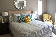 Master Bedroom Idea...blue, yellow, gray