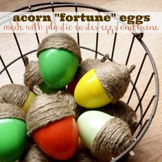 Acorn Fortune Eggs from Plastic Eggs and Twine - Becoming Martha #HolidayIdeaExchange