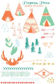 teepees & trees clip art by SweetBonnieChristine on Etsy, $5.00