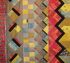 Beautiful use of color and scale. Quilt Boarders, Quilt Blocks, Sampler Quilts, Scrappy Quilts, Patchwork Patterns, Quilt Patterns Free, Seminole Patchwork, Jersey Quilt, Southwest Quilts