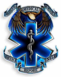 This EMS Eagle sticker is perfect for any paramedic! The EMS decal features the blue EMS Star of Life with Emergency Medical Service, Service Before Self. This EMS On Call for Life sticker is available in two sizes, 4 inch and 6 inch. Paramedic Tattoo, Paramedic Gifts, Firefighter Paramedic, Firefighter Tattoos, Paramedic Quotes, Emergency Medical Technician, Emergency Medical Services, Emergency Response, Medical Symbols