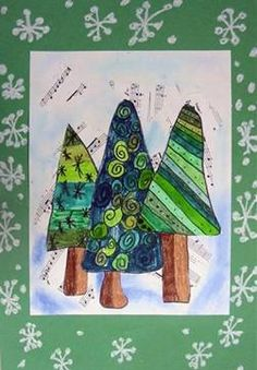 Pine Trees with line patterns, overlapping and monochromatic color scheme.lots of lesson plan possibilities. Christmas Art Projects, Christmas Tree Art, Christmas Arts And Crafts, Christmas Journal, Winter Art Projects, Classroom Art Projects, Art Classroom, First Grade Art, Theme Noel