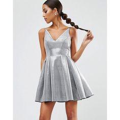ASOS NIGHT High Apex Bonded Mini Prom Dress (€39) ❤ liked on Polyvore featuring dresses, outfit, silver, v neck cocktail dress, prom dresses, metallic skater skirt, v neck dress and mini dress