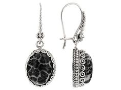 Artisan Gem Collection Of Bali(Tm) 16x12mm Oval Fossilized Black Coral Silver Dangle Earrings