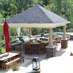 Pool Outdoor Kitchens Outdoor Kitchen Plans, Outdoor Kitchen Countertops, Backyard Kitchen, Outdoor Kitchen Design, Outdoor Cooking, Patio Design, Backyard Patio, Pool Gazebo, Grill Design