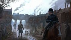 View an image titled 'London Police Art' in our Assassin's Creed Syndicate art gallery featuring official character designs, concept art, and promo pictures. Assassins Creed Syndicate, Assassins Creed Jacob, All Assassin's Creed, Xbox One, London Police, Concept Art Gallery, Matte Painting, Victorian, Big Ben London