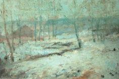 Snow Scene Moret Station, Pastel by Alfred Sisley (1839-1899, France)