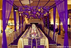 A royal purple color scheme for a Mardi Gras wedding.