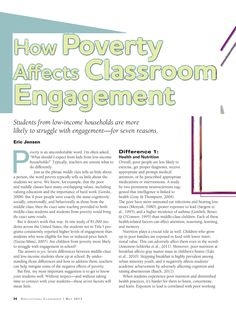 How Poverty Affects Classroom Engagement by Eric Jensen