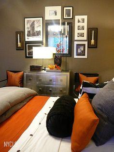 Black white orange bedroom on pinterest orange lamps for Black white and orange bedroom