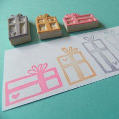 Heart Gifts  Hand Carved Rubber Stamp Set by creatiate on Etsy, $18.00