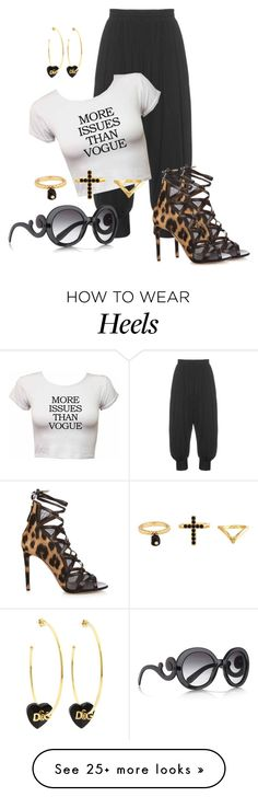 """""""Fierce Leopard Heels"""" by hope-houston on Polyvore featuring Isolde Roth, Aquazzura, Prada, D&G, Charlotte Russe, women's clothing, women, female, woman and misses"""