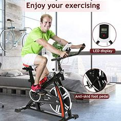 Exercise Bike Recumbent Cycle Bike Trainer Indoor Cycling Bike Stationary with LCD Display and Bottle Holder Static Spin Exercise & Fitness Equipment for Home Office Cardio Workout Bike Training Cycle Trainer, Bike Trainer, Best Exercise Bike, Indoor Cycling Bike, Spin Bikes, No Equipment Workout, Cage, Cardio, Trainers