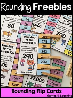 FREEBIES - Rounding Pick, Flip Check Cards for Rounding to the Nearest 10, 100 and 1000!