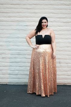 4fe204c035fdd Crystal Coons in Society+ Rose Gold Showstopper Sequin Maxi Skirt Sequin  Maxi