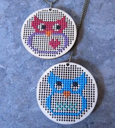 Cross Stitch Owl Necklace by PretendFriend on Etsy