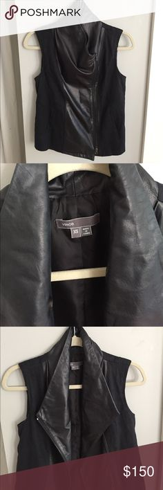 Vince denim and leather vest, size xs Vince denim and leather vest, size xs Vince Jackets & Coats Vests