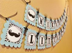 Mustache Bash Little Man Baby Shower - Gray & Black Chevron w/Baby Blue card stock - Party Packs Available