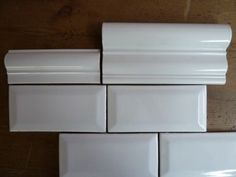 White bevelled tile with matching ceramic molding available at World Mosaic Tile in Vancouver Old Kitchen, Mosaic Tiles, Home Remodeling, Vancouver, Kitchens, Hand Painted, Shower, Bathroom, Cuisine