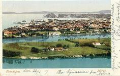 Sør-Trøndelag fylke Trondheim oversikt tidlig 1900-tall kolorert kort utg G.K.A.