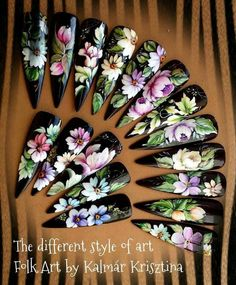 Uñas One Stroke, One Stroke Nails, Nails & Co, Funky Fingers, Nails First, Flower Nail Art, Arte Popular, Tole Painting, Nail Tutorials