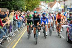 Bernhard Eisel leads the peloton as it rolls out of Reigate on the 2012 final stage.