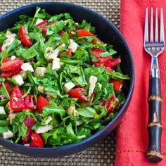 Baby Arugula Chopped Salad with Chicken, Fresh Mozzarella, and Tomatoes