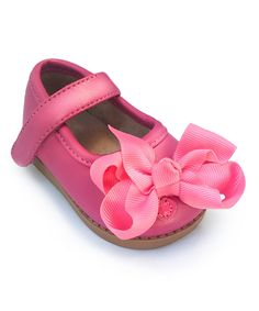 Take a look at this Mooshu Trainers Hot Pink Bow Mary Jane Squeaker Shoe today!