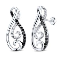 Zales: 1/5 CT. T.W. Enhanced Black and White Diamond Looping Infinity Drop Earrings in Sterling Silver
