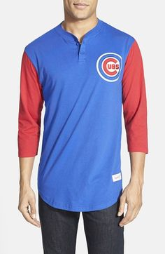 Mitchell+&+Ness+'Chicago+Cubs+-+Clutch'+Three+Quarter+Sleeve+Henley+available+at+#Nordstrom